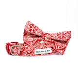 Scandi style cotton fabric dog collar bow tie