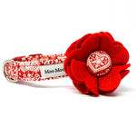 'LACE' FELT DOG COLLAR FLOWER IN RED