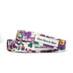 LIBERTY OF LONDON BETSY PURPLE FELT DOG COLLAR FLOWER