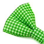 'GINGHAM' DOG BOW TIE IN APPLE GREEN