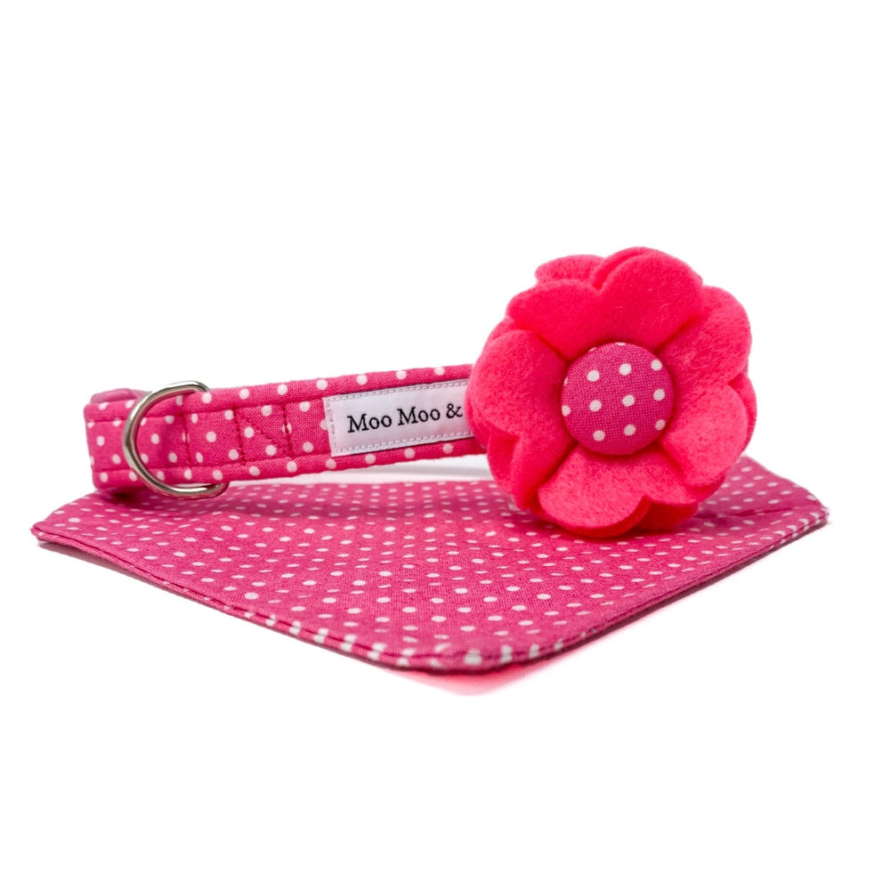 'POLKA DOT' DOG COLLAR FELT FLOWER IN CANDY PINK
