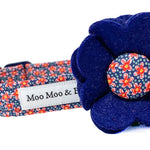 Decorative navy felt dog collar flower to compliment your collar