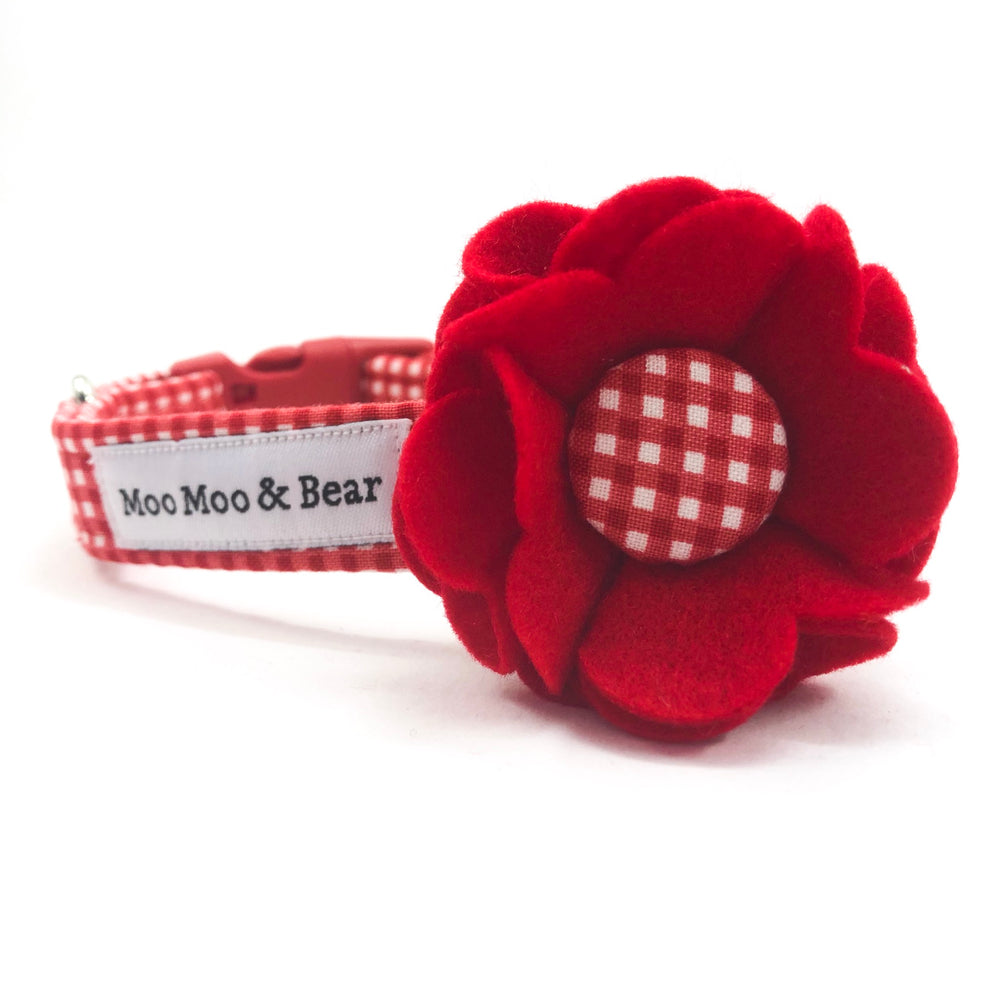 'GINGHAM' DOG COLLAR AND OPTIONAL LEAD IN RED