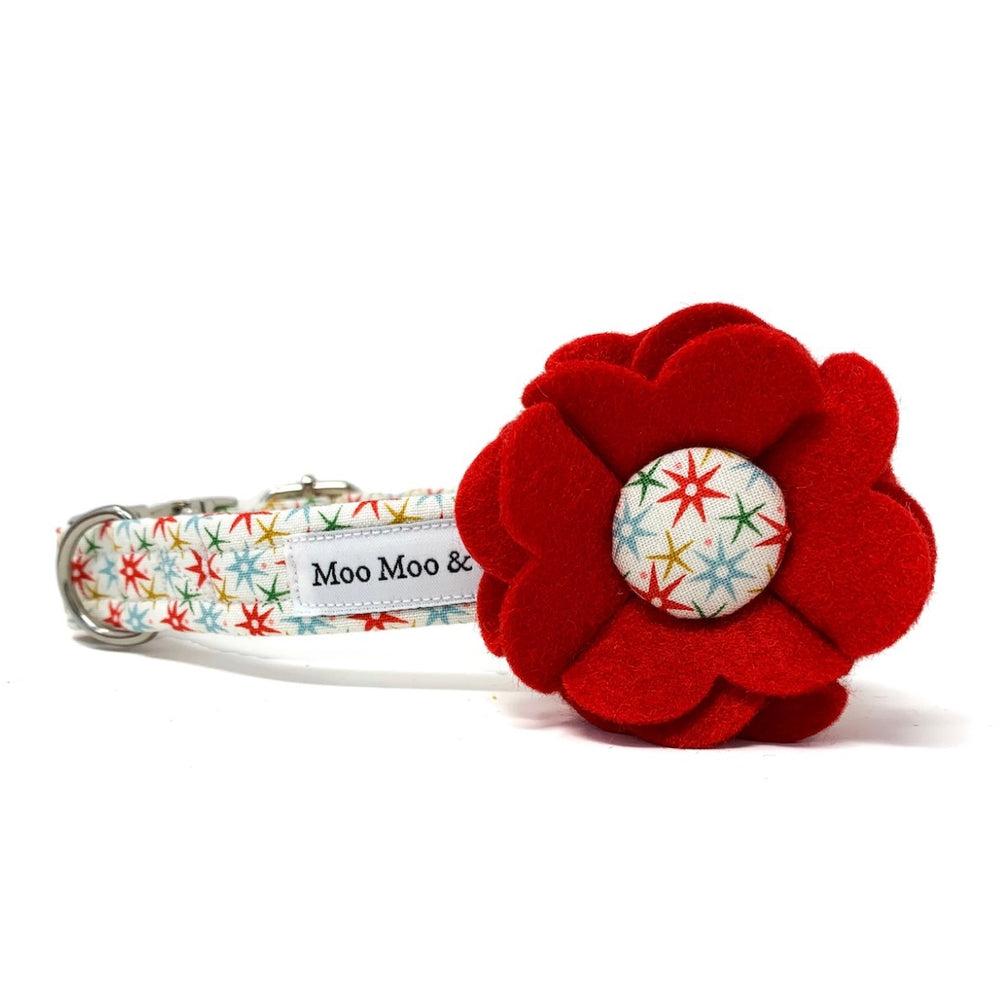 CHRISTMAS AT LIBERTY FESTIVE WISH RED FELT DOG COLLAR FLOWER