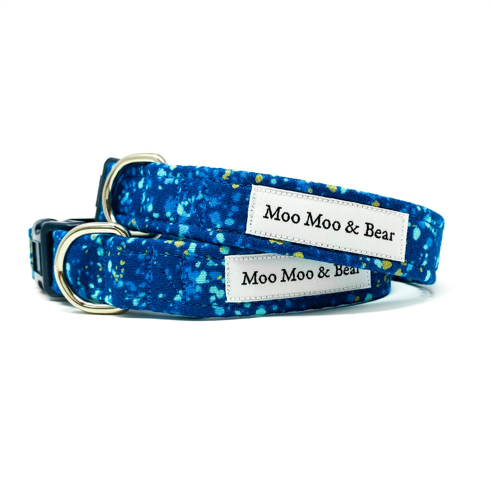 'POP' DOG COLLAR AND OPTIONAL LEAD IN BLUE