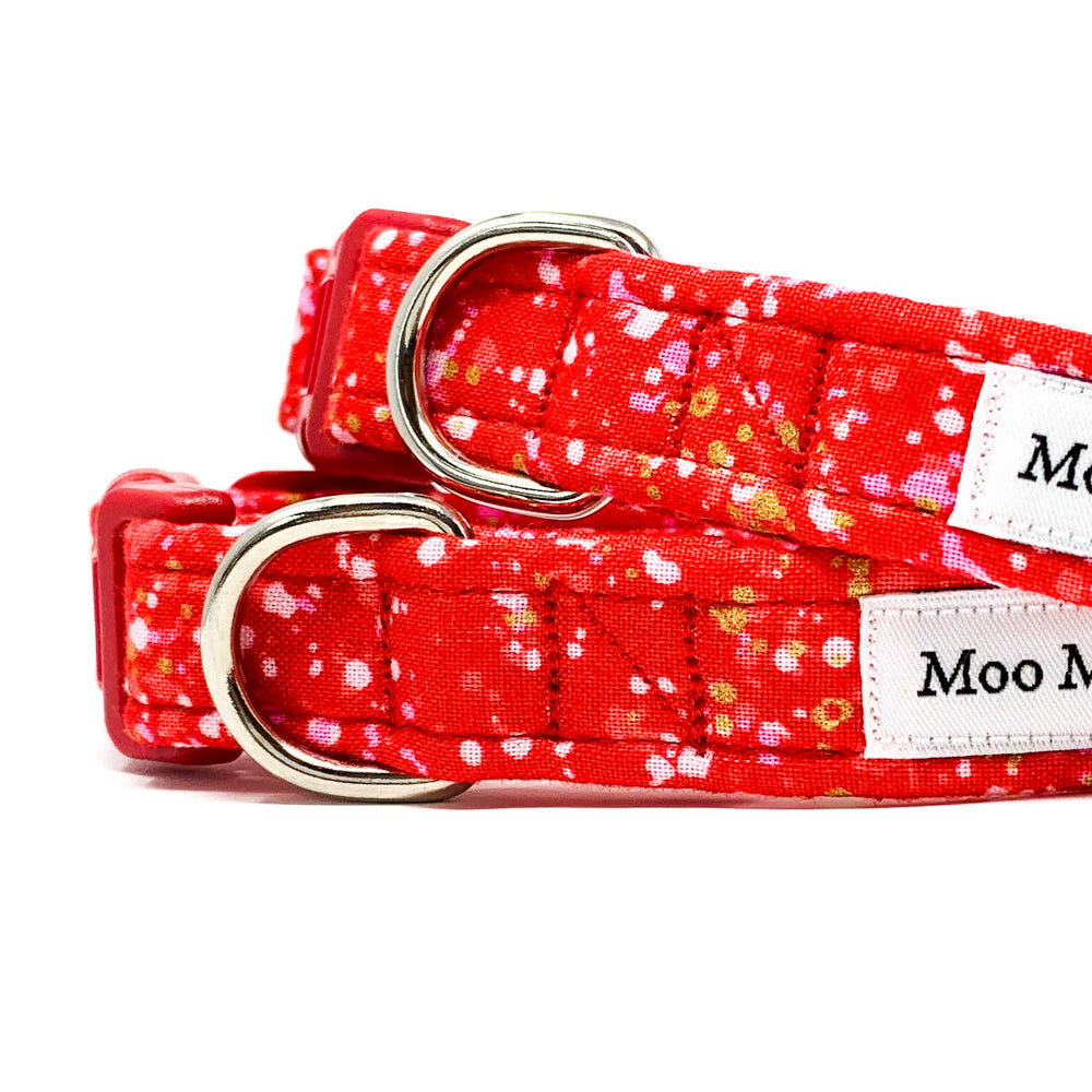 'POP' DOG COLLAR AND OPTIONAL LEAD IN RED