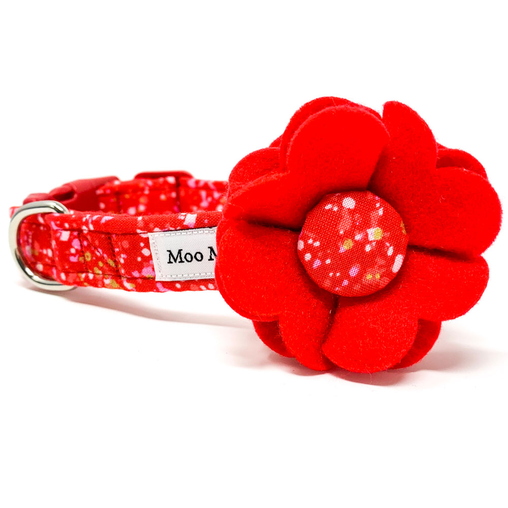 'POP' DOG COLLAR FELT FLOWER IN RED