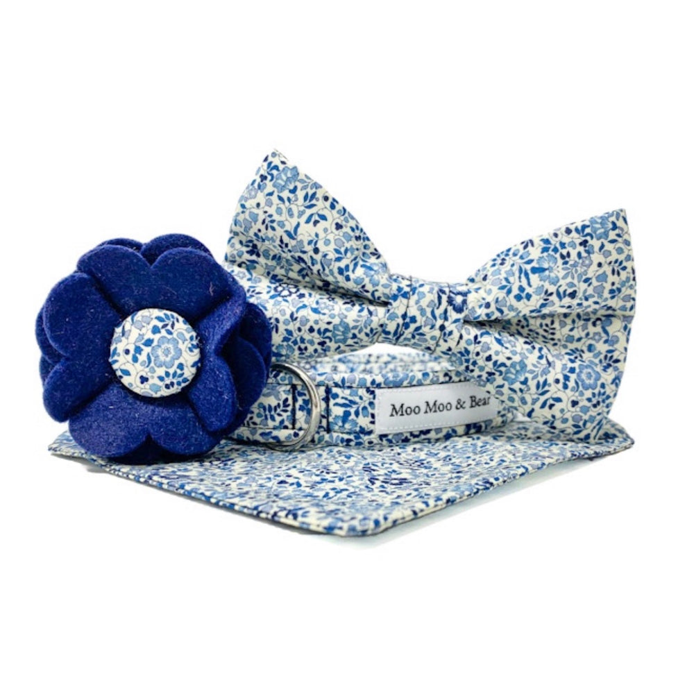 LIBERTY OF LONDON KATIE AND MILLIE NAVY COLLAR FELT FLOWER
