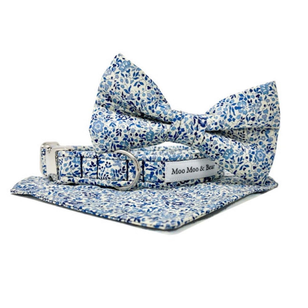 LIBERTY OF LONDON KATIE AND MILLIE BLUE TONE DOG BOW TIE