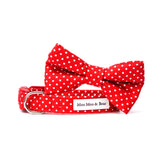 'POLKA DOT' DOG COLLAR FELT FLOWER IN RED