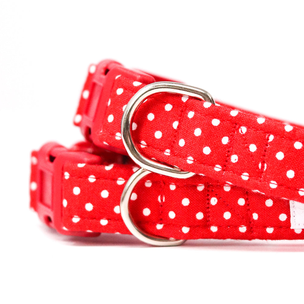 'POLKA DOT' DOG COLLAR AND OPTIONAL LEAD IN RED