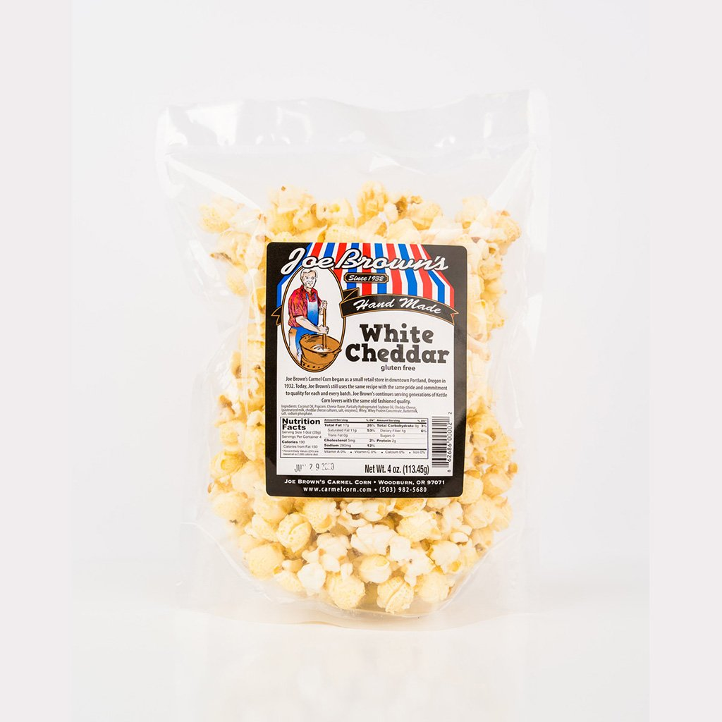 White Cheddar Popcorn Joe Brown's Carmel Corn