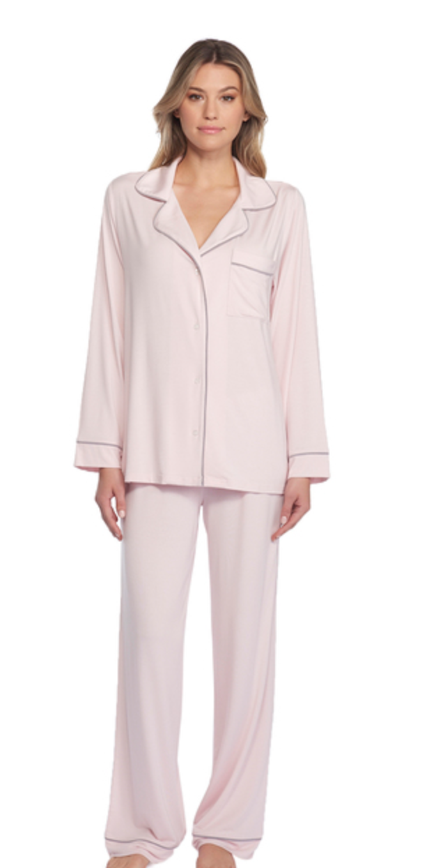 Barefoot Dreams Luxe Milk Jersey Pajama Set Soft Pink