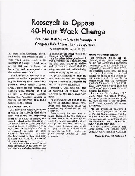 Laura Owens: Untitled Zine (Roosevelt to Oppose 40-Hour Week Change)