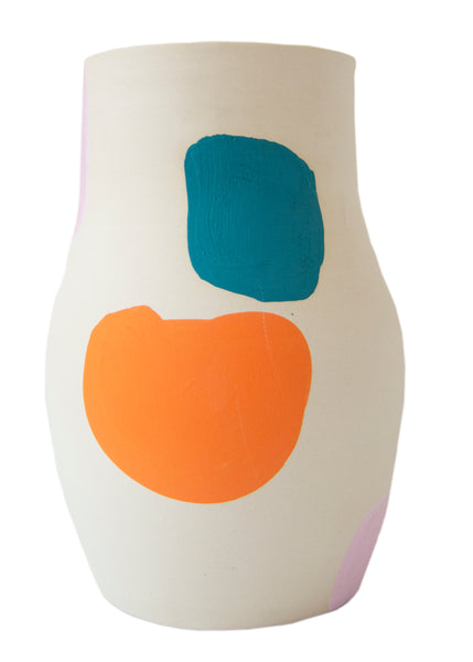 Cassie Griffin: Ceramic Vase, Streaky Navy + Multi-Color Shapes