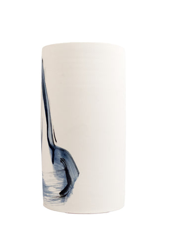 Cassie Griffin: Ceramic Vase, Natural with Blue Triangle