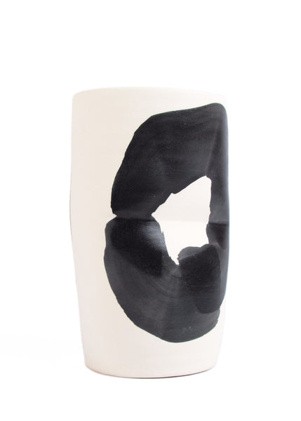 Cassie Griffin: Ceramic Vase, Pinched Natural with Black Circle