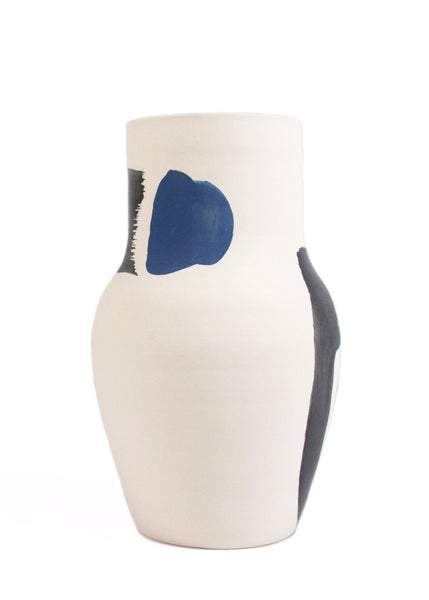 Cassie Griffin: Ceramic Vase, Natural with Black Lines and Blue Dot