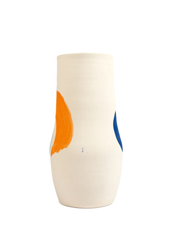 Cassie Griffin: Ceramic Vase, Natural with Light Blue Dot