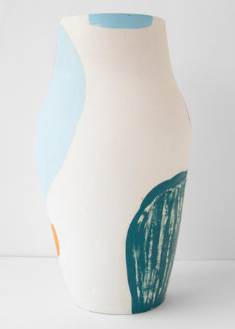 Cassie Griffin: Ceramic Vase, Light Blue and Orange