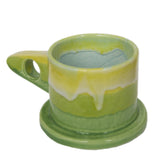 Peter Shire: Medium Mug, Green with Yellow & Light BLue