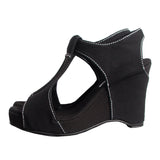 Slow and Steady Wins the Race: Black with White Stitching Heeled Wedge Sandal