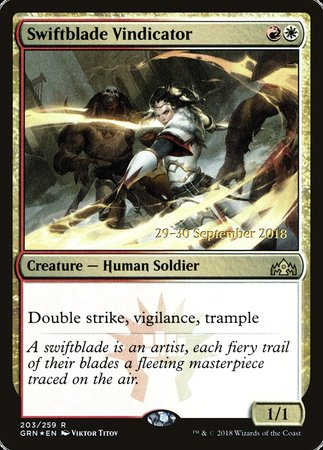 Swiftblade Vindicator [Guilds of Ravnica Promos] | The Guild in the Grove