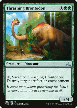 Thrashing Brontodon [Rivals of Ixalan] | The Guild in the Grove