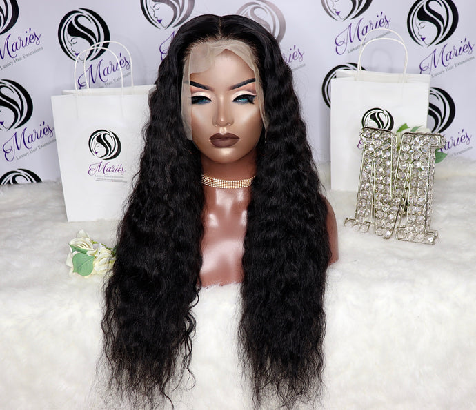 Water Wave Transparent Lace Frontal Wig 13x6 180% Density