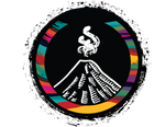 Ixkanul Coffee's logo. A volcano surrounded by Guatemala's artisan colors.