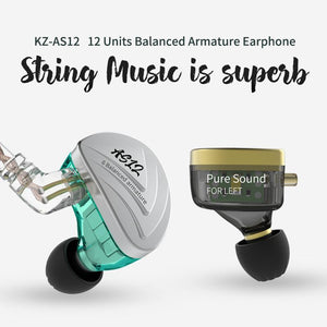 KZ AS12 Twelve-Balanced Armature Earphones By Knowledge Zenith