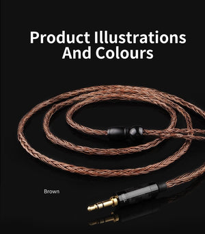 TRN Silver Plated Metal Upgrade Cable - Brown (No Microphone) Accessories By Knowledge Zenith
