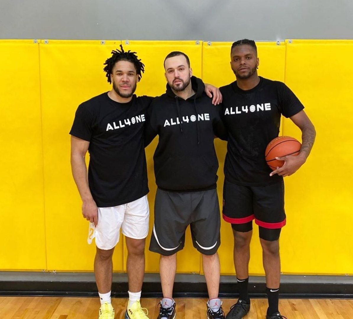 Filip Music with Malcom Duvivier and Tyrell Green after basketball workout