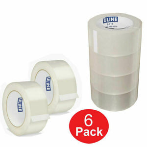 "ULINE INDUSTRIAL TAPE 2"" x 110yds Packing Tape Uline S-423 - 6 New Roll 2.0 MIL"