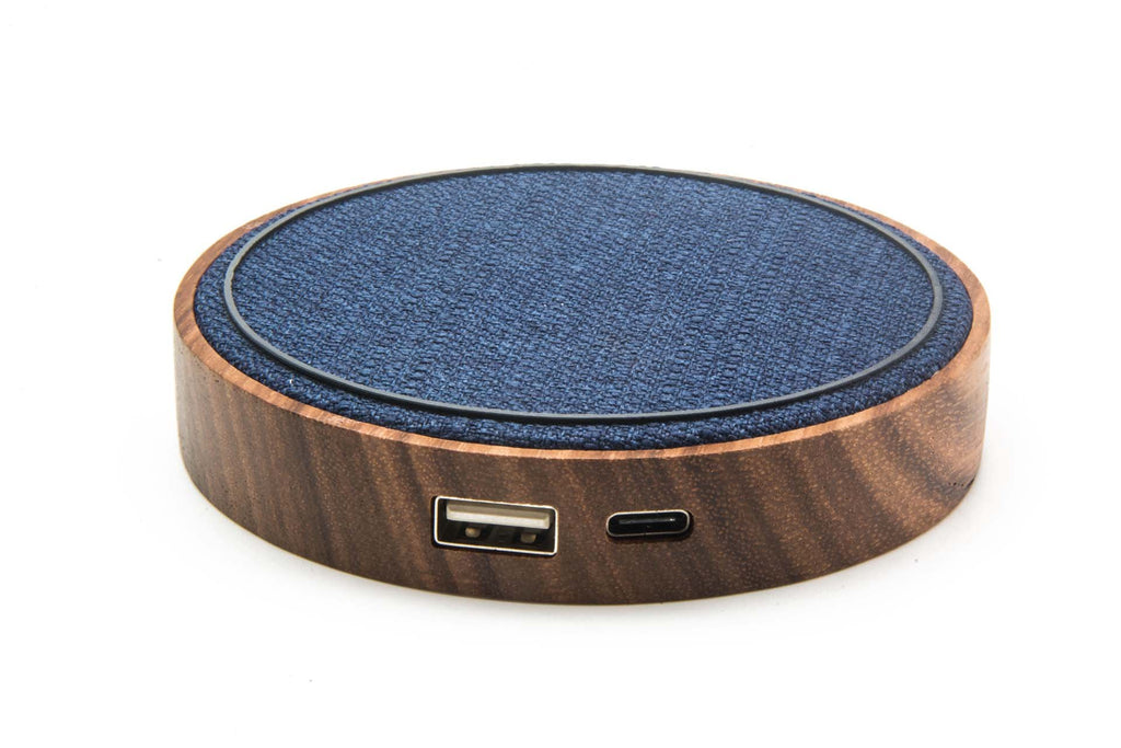 Kensington Pad - iPhone/QI Wireless & Portable Charger, (Bamboo + Navy Blue Fabric)