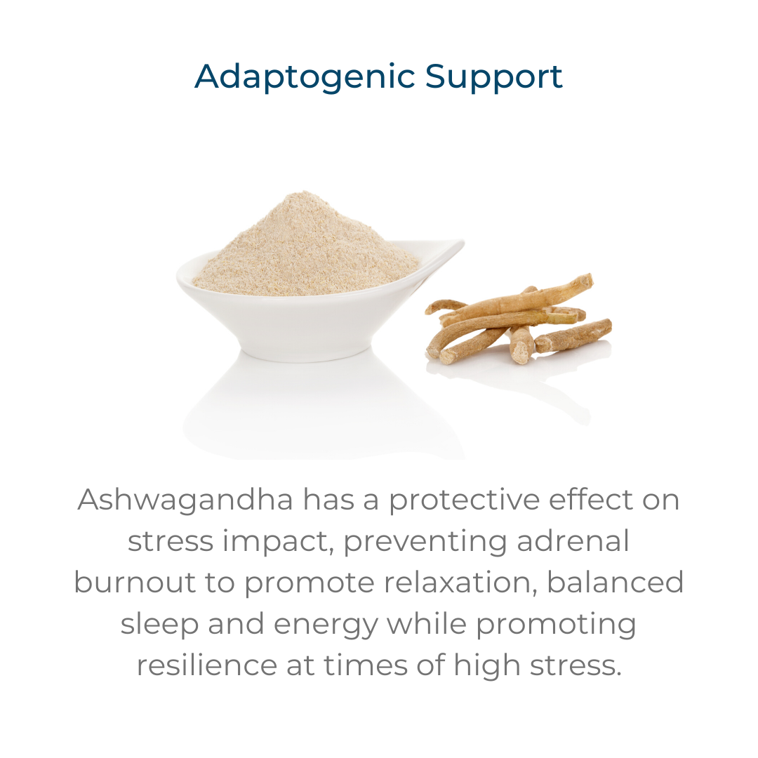 Adaptogenic support – Ashwagandha has a protective effect on stress impact, preventing adrenal burnout to promote relaxation, balanced sleep and energy while promoting resilience at times of high stress.