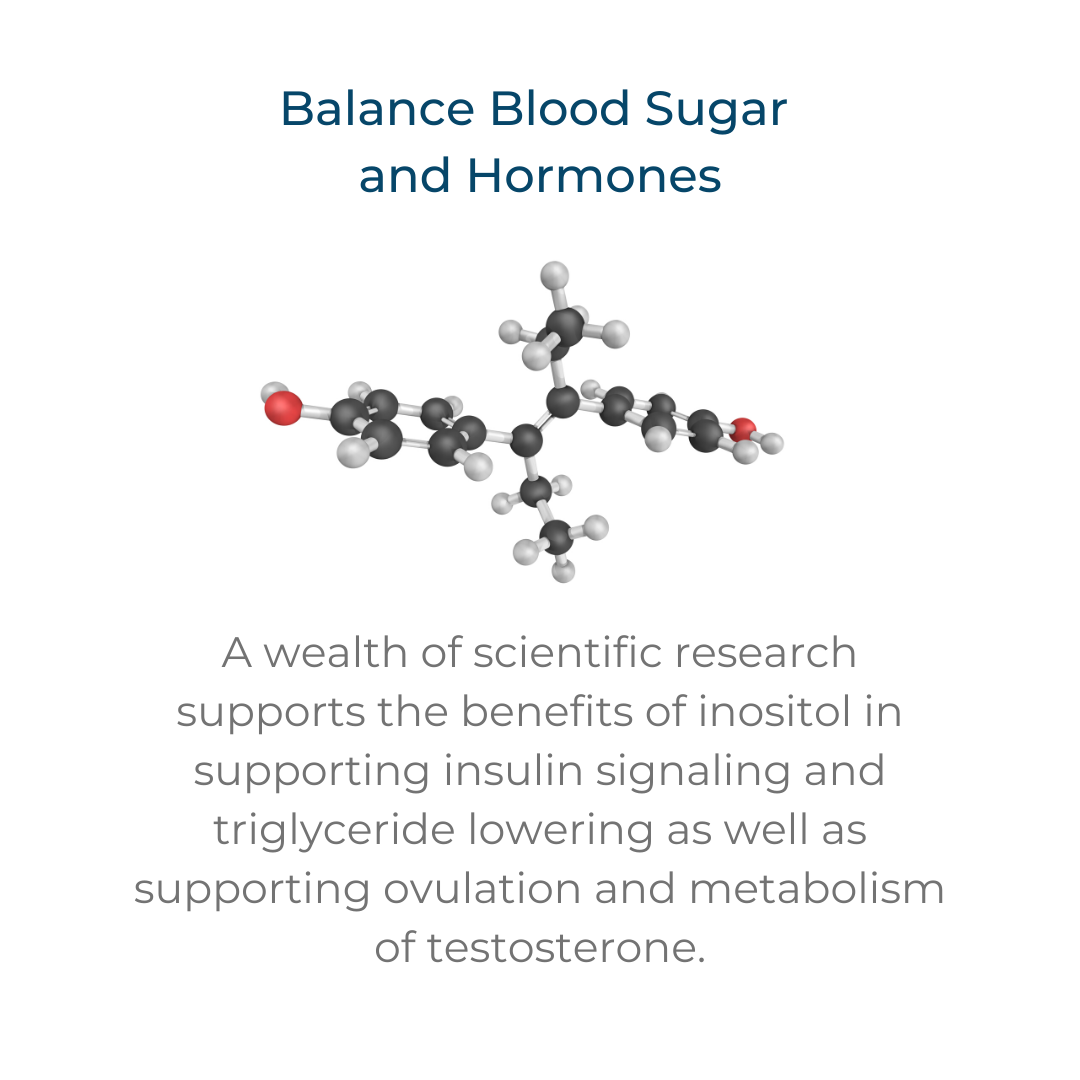 Balance blood sugar and hormones – A wealth of scientific research supports the benefits of inositol in supporting insulin signaling and triglyceride lowering as well as supporting ovulation and metabolism of testosterone.