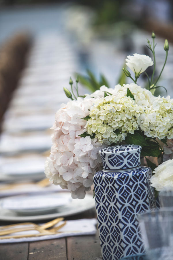 Blue and white vases, glasses and crockery is available for hire at the white place, orange nsw