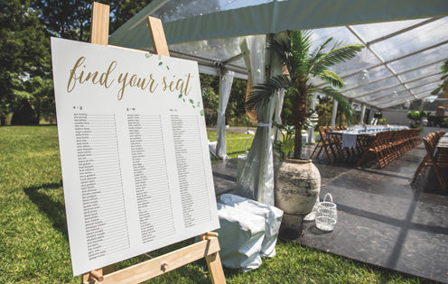 Wedding inspiration table signage - the white place lifestyle and events