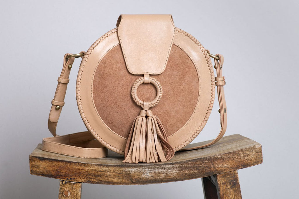 Harlequin Leather Round Bag natural - free shipping in australia