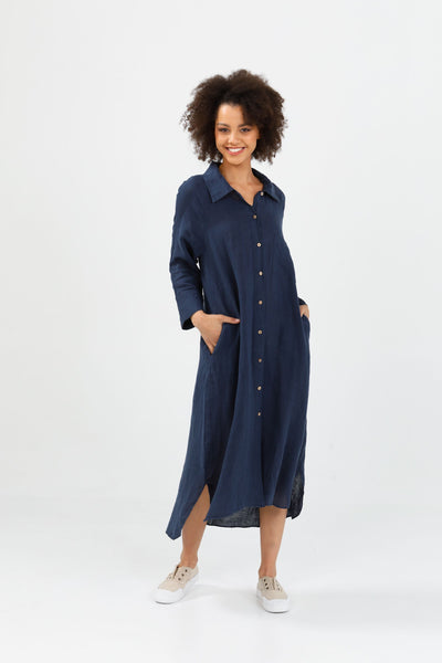 navy linen shirt dress - free shipping