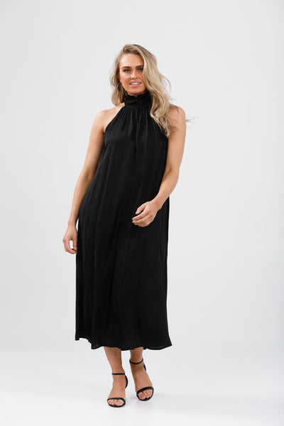 Black halter neck dress - free shipping