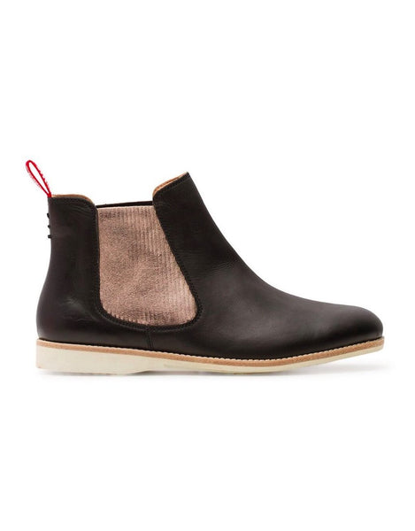 rollie nation chelsea boot in black with rose gold luxe insert - free shipping within australia