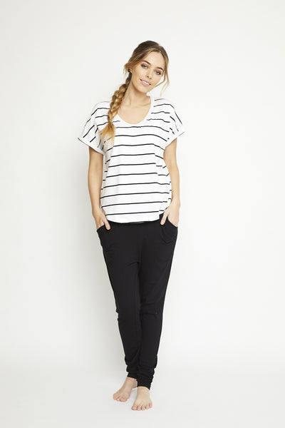 Luxe Tee - black stripe