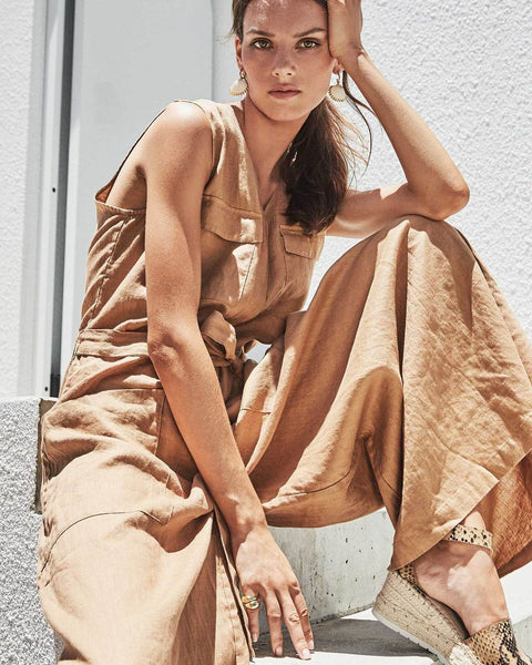 Linen jumpsuit in cumin - free shipping in australia