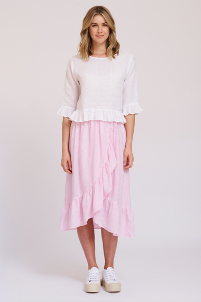 white linen top with a sleeve - free shipping in australia