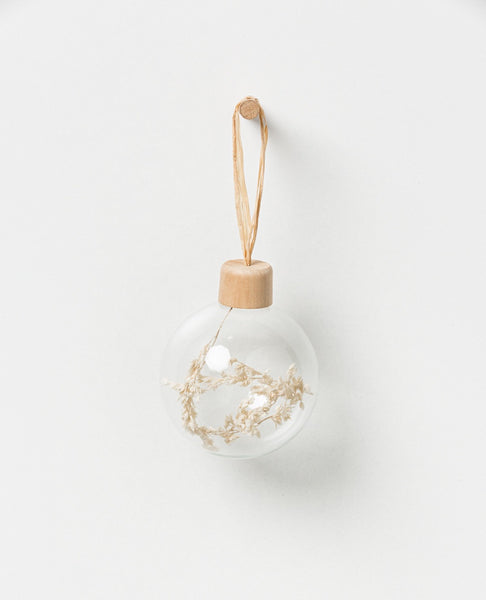 Holiday Hanging glass bauble - natural