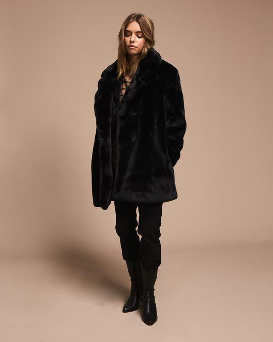 Faux Fur black coat - free shipping