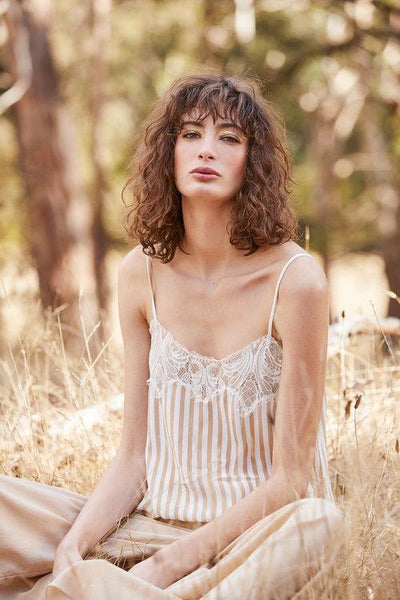 Maud Dainty stripe cami with lace - free shipping in australia