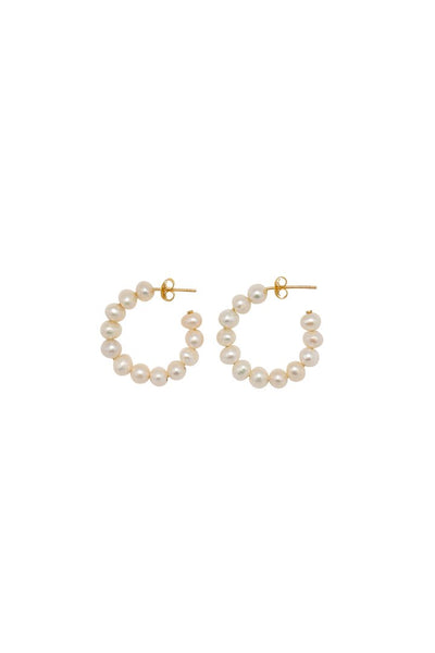 hoop pearl earrings - small gold